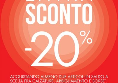 DA SCARPE&SCARPE EXTRA SCONTO 20% DAL 18 AL 20 GENNAIO.