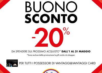 Dal 25 al 30 aprile solo da Scarpe&Scarpe con una spesa minima di € 60,00 riceverai un buono sconto -20% da spendere sul prossimo acquisto.