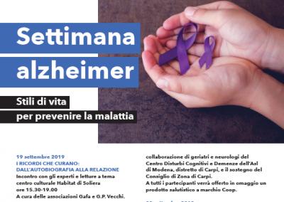 DOMENICA 21 SETTEMBRE 2019 a IL BORGOGIOIOSO: Punto informativo sulle demenze e attività di prevenzione.