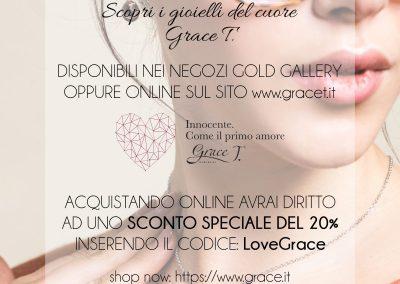 Scopri i gioielli del cuore Grace T. Disponibili nel negozio Gold Gallery e online su www.gracet.it.