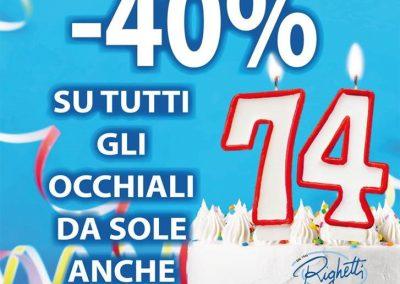 Da OTTICA RIGHETTI: -40% su tutti gli occhiali da sole anche nuova collezione! Promozione valida dal 24 al 26 gennaio 2020.