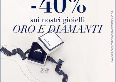 Vieni a scoprire da Bluespirit la promozione fino al -40% sui nostri gioielli oro e diamanti! Ti aspettiamo nel punto vendita Bluespirit!