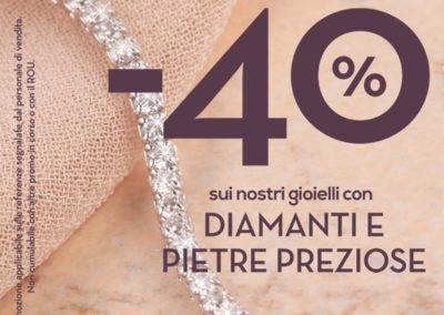 Vieni a trovarci nel punto vendita Bluespirit e scopri la promozione fino al -40% sui nostri gioielli con Diamanti e Pietre Preziose.